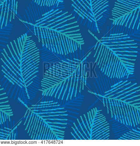 Mono Print Style Scattered Leaves Seamless Vector Pattern Background. Cobalt Blue Layered Lino Cut E