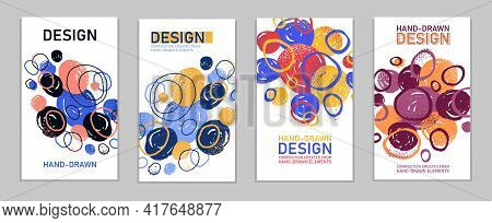 Artistic Brochures Vector Abstract Designs Set With Hand Drawn Splat Elements, Stylish Colorful Art