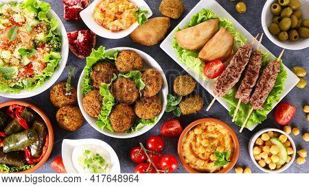 lebanese food selection - top view