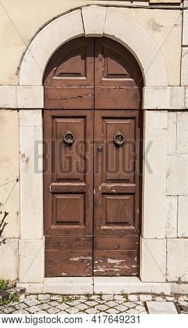 Old Wooden Italian Door In A Small Village In Abruzzo