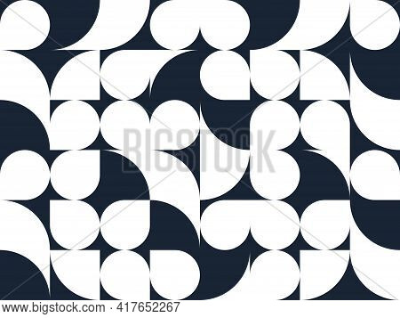 Abstract Vector Geometric Seamless Pattern, Black And White Simple Geometric Elements Repeat Tiles,
