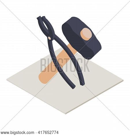 Forging Tool Icon. Isometric Illustration Of Forging Tool Vector Icon For Web