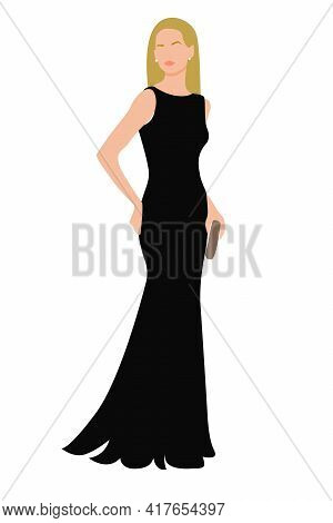 Portrait Of Standing Young Woman In A Long Black Dress. Minimalist Boho Style Portrait For Contempor