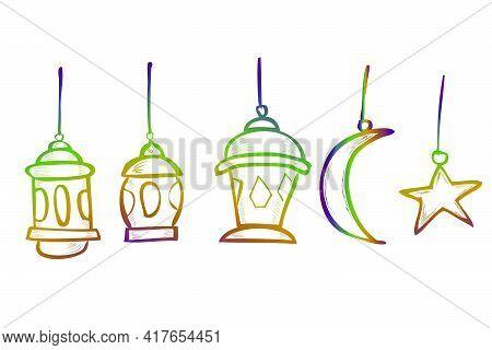 Hand Draw Sketch Vector, Lantern, Star And Moon, Element Design Or Template For Ramadan Kareem Greet