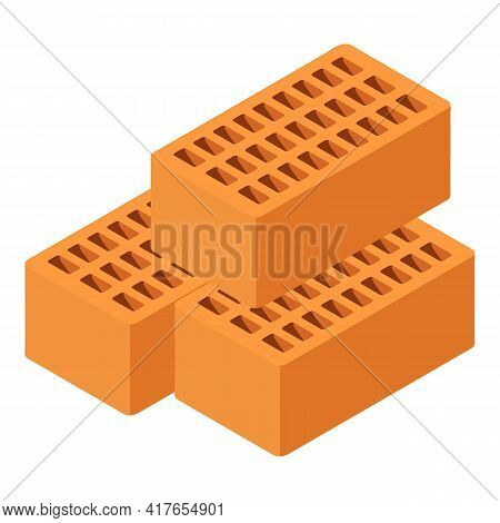 Red Brick Icon. Isometric Illustration Of Red Brick Vector Icon For Web
