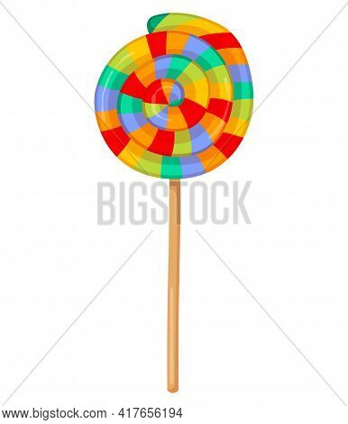 Colorful Cute Round Candy On A Stick Isolated On White Background. Minimalistic Tasty Striped Candy