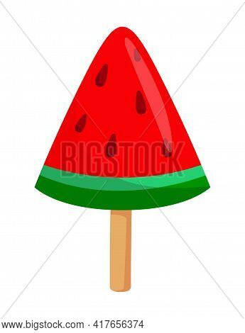 Watermelon-shaped Cute Triangle Candy On A Stick On White Background. Minimalistic Tasty Fruity Cand