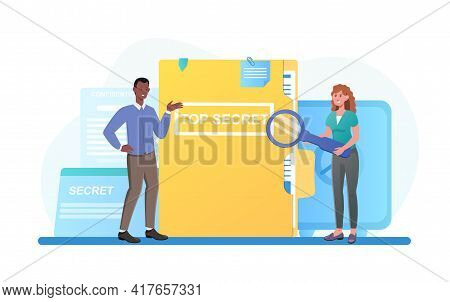 Male And Female Characters Are Standing Next To Confidential Documents With Magnifier. Concept Of In