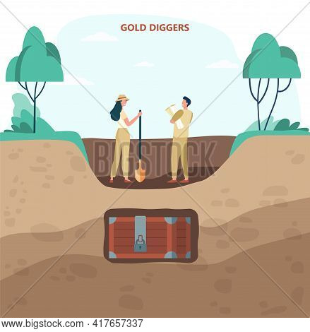 Two Gold Diggers In Search Of Treasures Flat Vector Illustration. Cartoon Man And Woman With Shovel