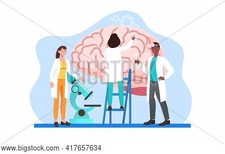 Group Of Male And Female Scientists Studying Human Brain And Mind Memory. Concept Of Medical Researc
