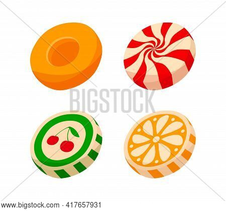 Colorful Striped Candy Pieces With Fruit Pictures Isolated On White Background. Tasty Fruity Candy F