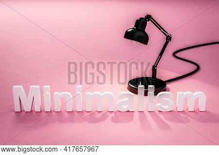Black Industry Desk Lamp On Pink Colored Surface With Lettering Minimalism Concept 3d Designer; 3d I