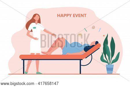 Cartoon Midwife Helping Woman Giving Birth. Flat Vector Illustration. Woman Going Through Contractio