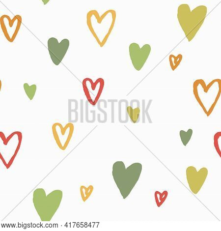 Valentine's Pattern, Hand Drawn Colorful Hearts Upon White Background. Vector Seamless Patterns With