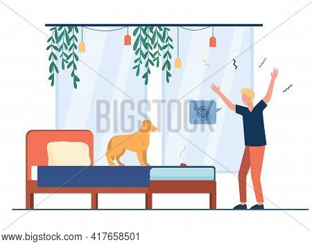 Cartoon Young Man Scolding Dog For Pooping In Bed. Flat Vector Illustration. Overwhelming Man Blamin
