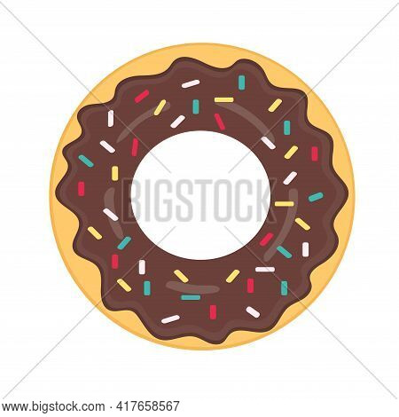 National Doughnut Day Holiday. A Delicious Doughnut With Brown Chocolate Icing And Sprinkles On A Wh