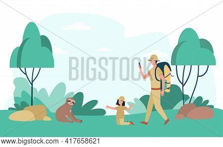 Cartoon Man And Girl Enjoying Jungle Travelling, Watching Sloth. Flat Vector Illustration. Father An
