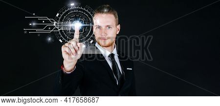 Caucasian Business Man In Black Suit Hand Touching Virtual Screen Fingerprint With Global Media Link