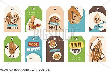 Jokey Nuts Tags Set. Cartoon Vector Illustration. Tags With Cute Comic Pistachio, Cashew, Walnut In