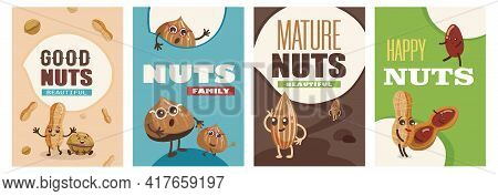 Set Of Funny Nuts Characters Posters Cartoon Vector Illustration. Flyers With Cute Comic Almond, Haz