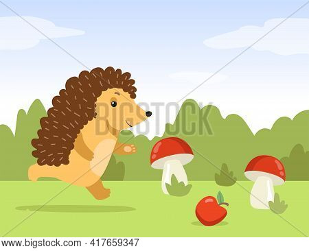 Happy Hedgehog Running Flat Vector Illustration. Cartoon Hedgehog Living In Wild Nature, Picking Up