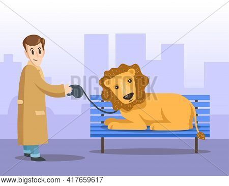 Cartoon Male City Dweller In Coat Walking His Pet Lion. Flat Vector Illustration. Man Character Hold