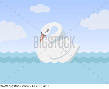 Beautiful White Swan Swimming Alone Cartoon Vector Illustration. Pretty Bird On Sea Or Lake As Symbo