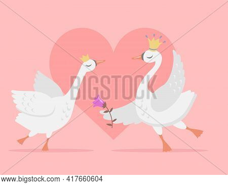 Couple Of White Swans In Love Cartoon Vector Illustration. Pretty Bird Princess And Prince Wearing C