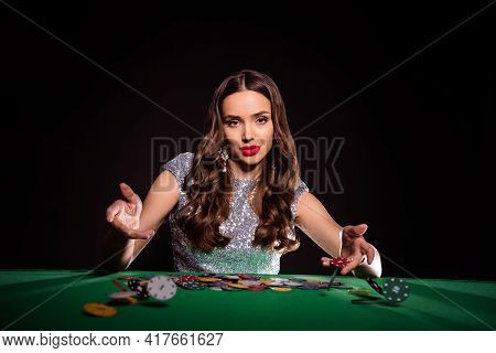 Photo Of Classy Lady Sit Casino Table Throw Chips Look Camera Wear Glossy Dress Isolated Black Color