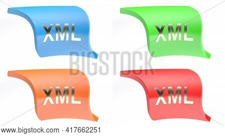 Xml Icon Button Set With 4 Buttons In Different Colors - 3d Rendering Illustration
