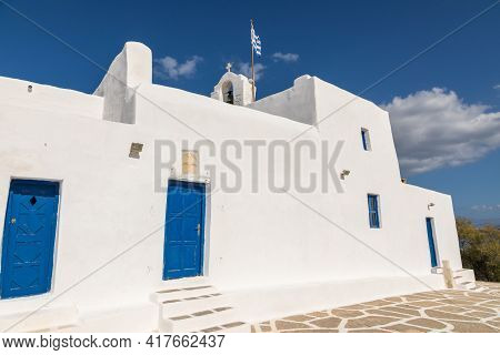 View Of The Monastery Of Saint John Of Deti On Paros Island, Hill Near Monasteri Beach. Greece.