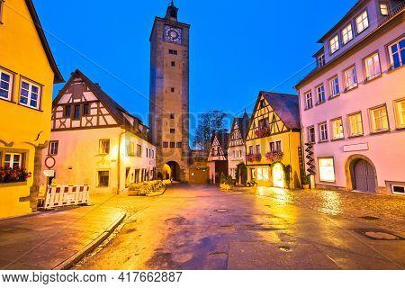 Rothenburg Ob Der Tauber. Hisoric Tower Gate Of Medieval German Town Of Rothenburg Ob Der Tauber. Ba