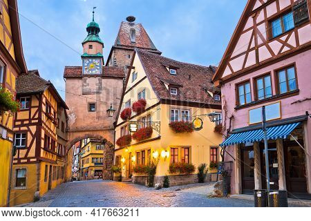 Idyllic Germany. Street Architecture Of Medieval German Town Of Rothenburg Ob Der Tauber Evening Vie
