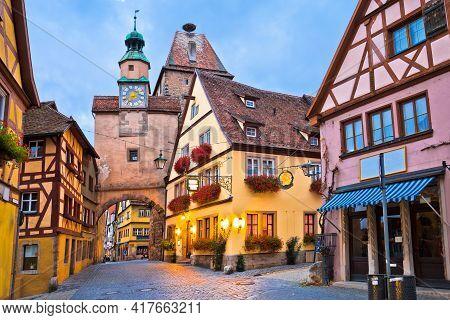 Idyllic Germany. Street Architecture Of Medieval German Town Of Rothenburg Ob Der Tauber Evening Vie
