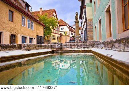 Idyllic Germany. Colorful Street And Fountain In Medieval German Town Of Rothenburg Ob Der Tauber Vi