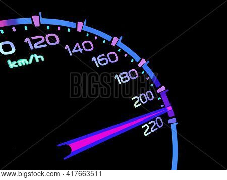 At A Speed Of 210 Kilometers Per Hour Of High Lifters Truck On Car Dashboard.concept Driving Fast Is