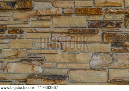 Variety Of Cut Sandstone Randomly Stacked Set In Mortar For An Exterior Wall Of A Building Local Sto