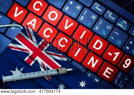 Covid-19 Immunization In Australia Showing Syringe And Face Mask With Australian Flag And Vaccine Me