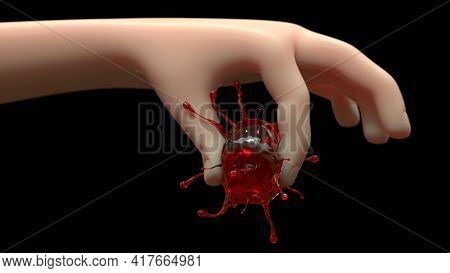 Hand Squeeze Virus Corona Squash And Die With 3d Rendering.
