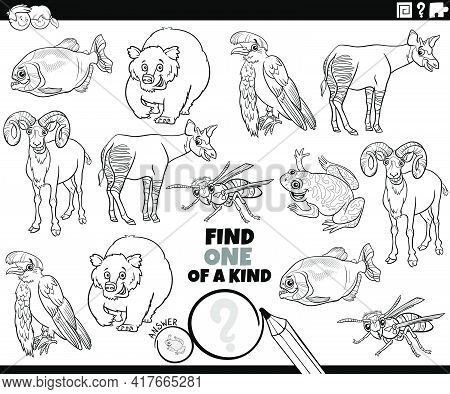 Black And White Cartoon Illustration Of Find One Of A Kind Picture Educational Task With Funny Anima
