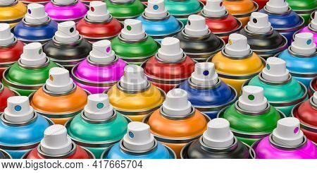 Rows of colorful graffity spray paint cans or bottles of aerosol. 3d illustration