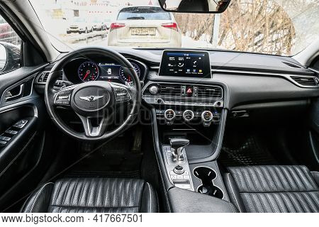 Moscow, Russia - January 25, 2021: Interior Of The Compact Executive Sedan Genesis G70.