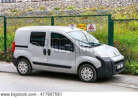 Istanbul, Turkey - February 11, 2021: Small Cargo Van Fiat Fiorino In The City Street.