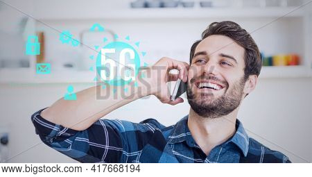 Composition of 5g text over digital icons and smiling man talking on smartphone. global networking, communication and digital interface concept digitally generated image.