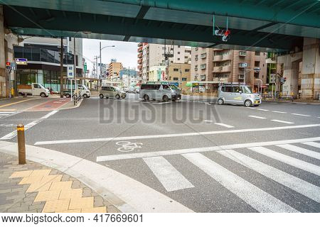 OSAKA, JAPAN - January 14, 2020: Street view of downtown  Osaka, Japan