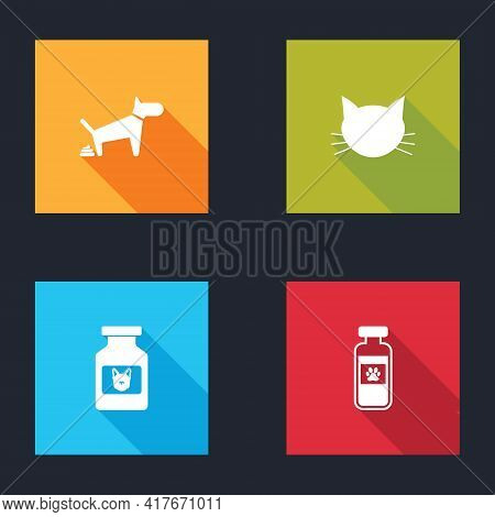 Set Dog Pooping, Cat, Medicine Bottle And Pets Vial Medical Icon. Vector