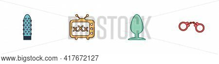 Set Dildo Vibrator, Sex Tv Old Television, Anal Plug And Handcuffs Icon. Vector