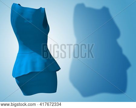 Conceptual fat overweight obese shadow female blouse and skirt vs slim fit healthy body after weight loss or diet thin young woman on blue. A fitness, nutrition, obesity health shape 3D illustration