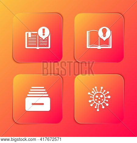 Set Interesting Facts, , Drawer With Documents And Bacteria Icon. Vector