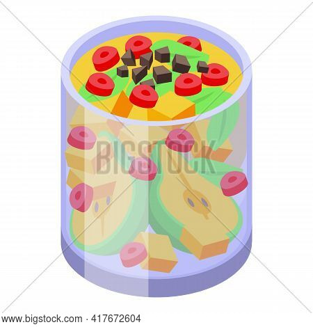 Glass Fruit Salad Icon. Isometric Of Glass Fruit Salad Vector Icon For Web Design Isolated On White